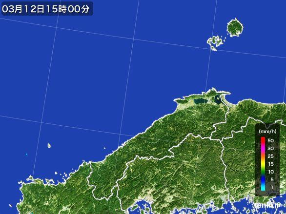 島根県の雨雲レーダー(2016年03月12日)