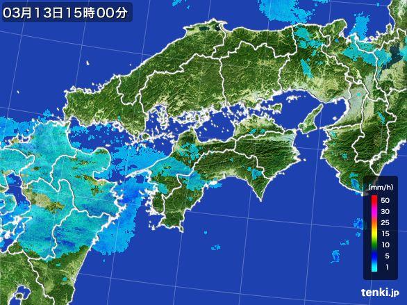 四国地方の雨雲レーダー(2016年03月13日)
