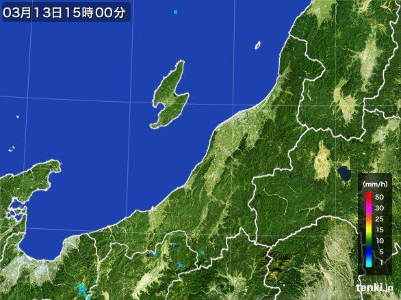新潟県の雨雲レーダー(2016年03月13日)