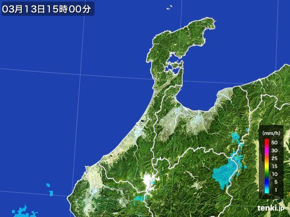 石川県の雨雲レーダー(2016年03月13日)