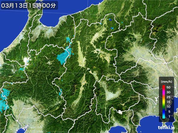 長野県の雨雲レーダー(2016年03月13日)