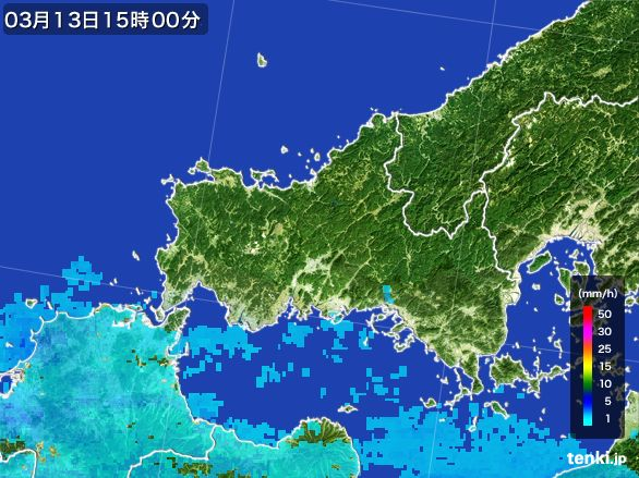 山口県の雨雲レーダー(2016年03月13日)