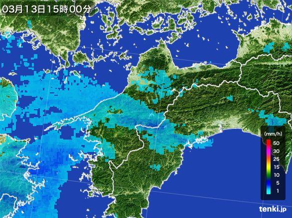 愛媛県の雨雲レーダー(2016年03月13日)