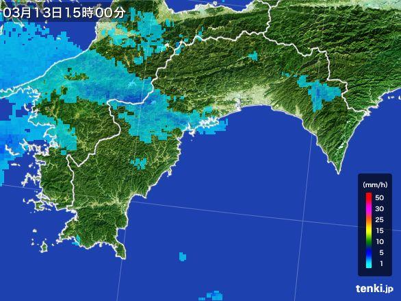 高知県の雨雲レーダー(2016年03月13日)