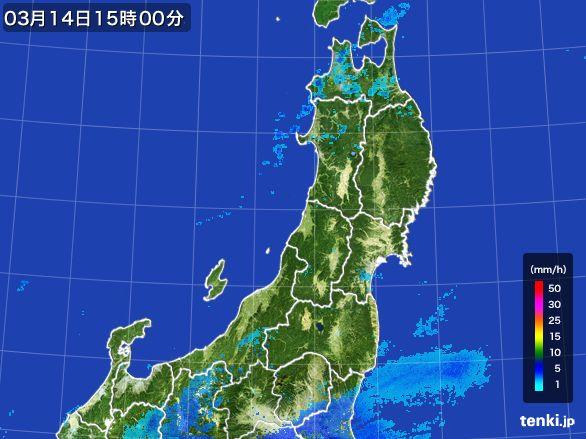 東北地方の雨雲レーダー(2016年03月14日)