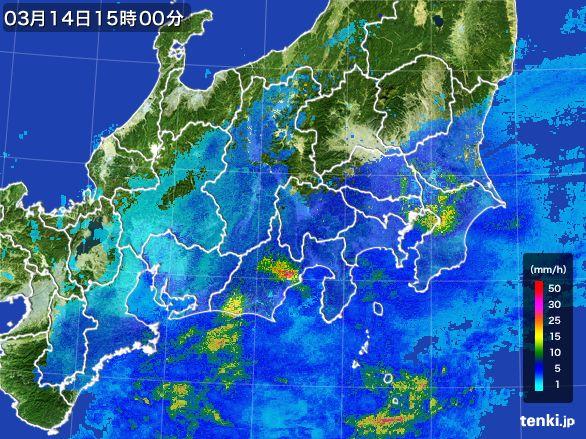 関東・甲信地方の雨雲レーダー(2016年03月14日)