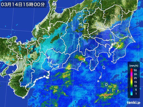 東海地方の雨雲レーダー(2016年03月14日)