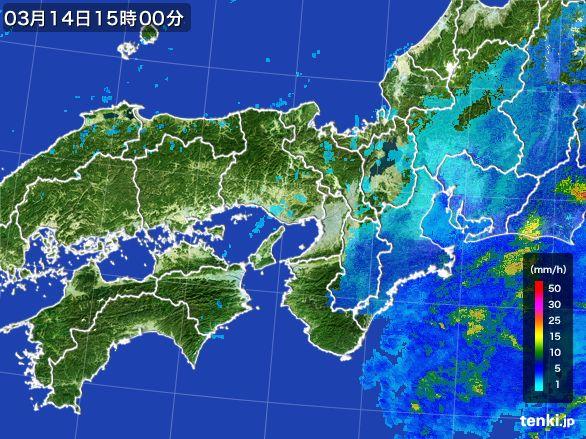 近畿地方の雨雲レーダー(2016年03月14日)
