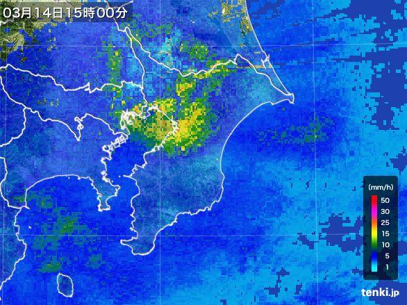 千葉県の雨雲レーダー(2016年03月14日)