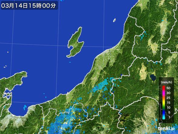 新潟県の雨雲レーダー(2016年03月14日)