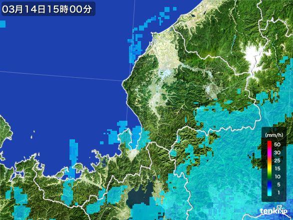 福井県の雨雲レーダー(2016年03月14日)