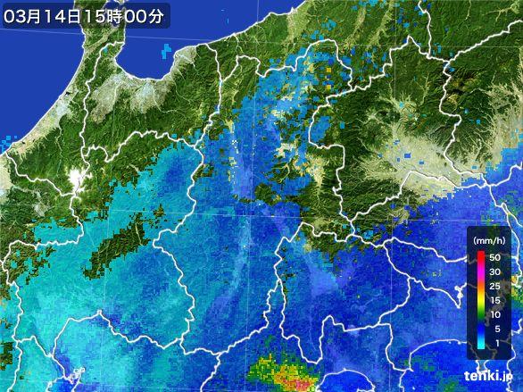 長野県の雨雲レーダー(2016年03月14日)