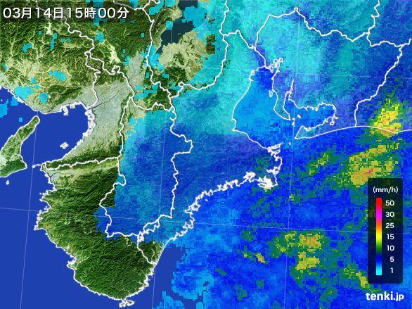 三重県の雨雲レーダー(2016年03月14日)