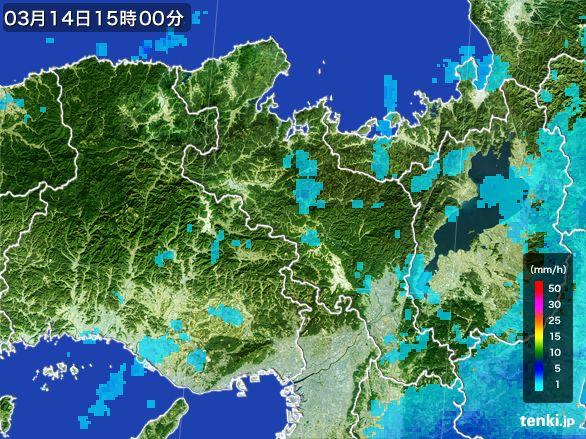 京都府の雨雲レーダー(2016年03月14日)