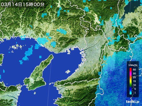 大阪府の雨雲レーダー(2016年03月14日)