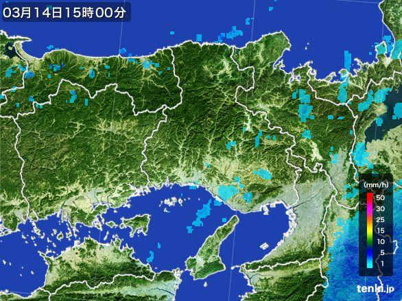 兵庫県の雨雲レーダー(2016年03月14日)