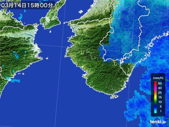 和歌山県の雨雲レーダー(2016年03月14日)