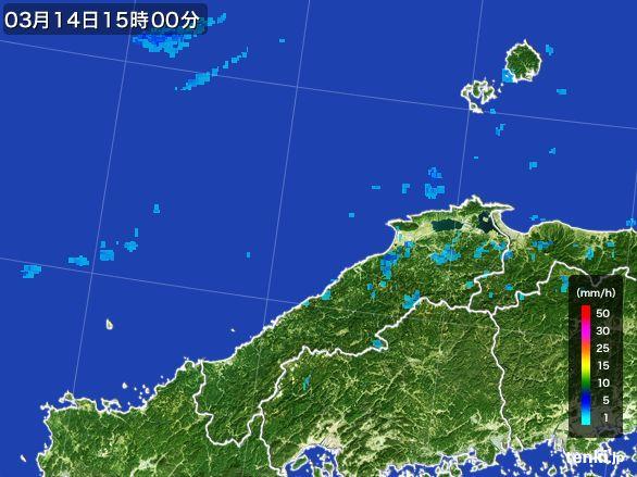 島根県の雨雲レーダー(2016年03月14日)