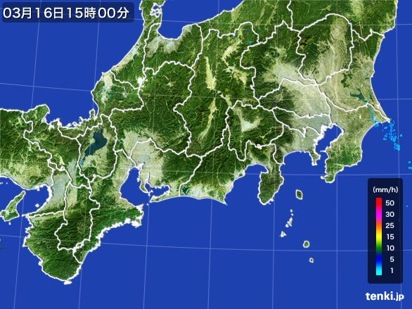 東海地方の雨雲レーダー(2016年03月16日)