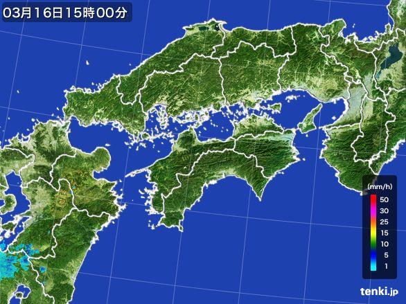 四国地方の雨雲レーダー(2016年03月16日)
