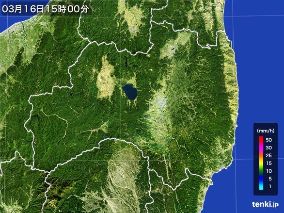 福島県の雨雲レーダー(2016年03月16日)