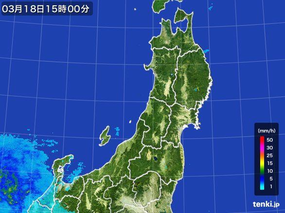 東北地方の雨雲レーダー(2016年03月18日)