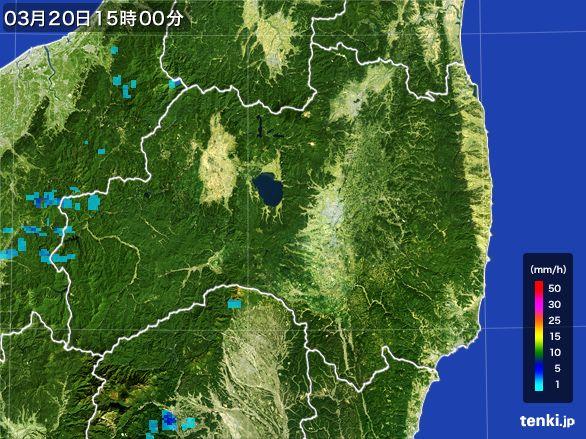 福島県の雨雲レーダー(2016年03月20日)