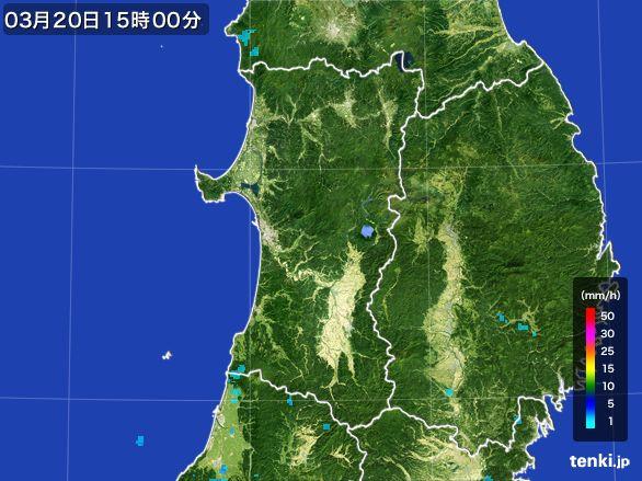 秋田県の雨雲レーダー(2016年03月20日)