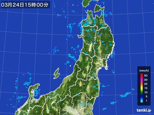 東北地方の雨雲レーダー(2016年03月24日)