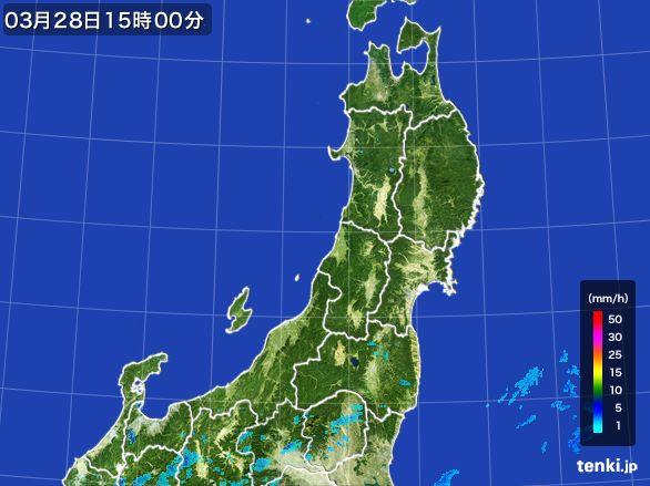 東北地方の雨雲レーダー(2016年03月28日)