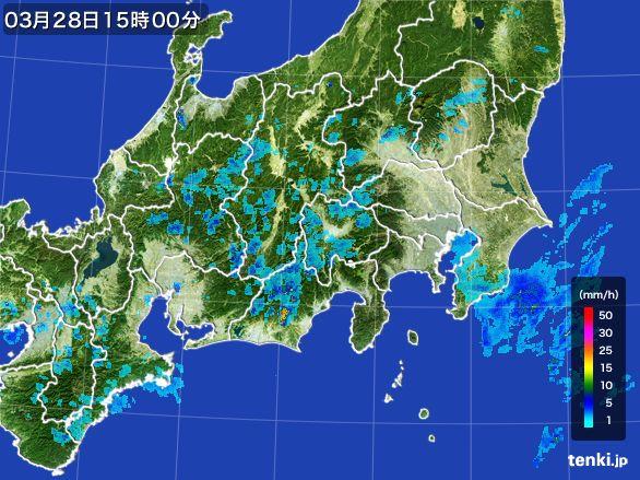 関東・甲信地方の雨雲レーダー(2016年03月28日)