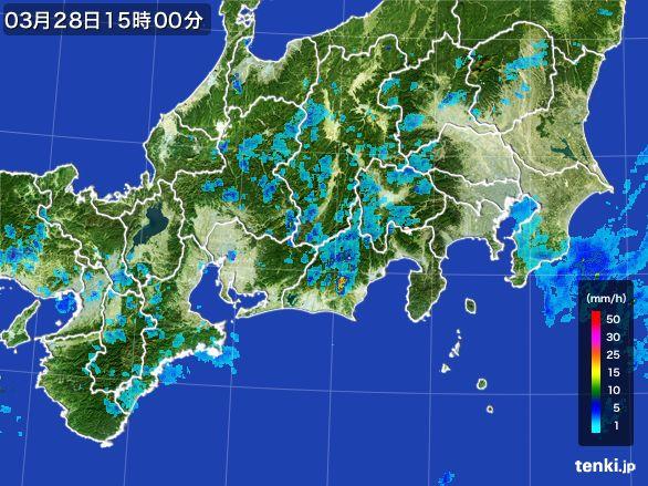 東海地方の雨雲レーダー(2016年03月28日)