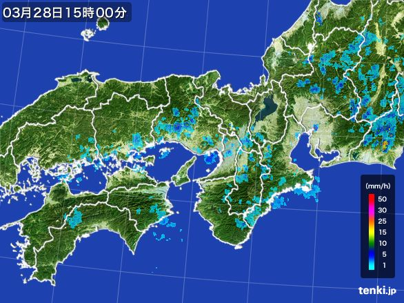 近畿地方の雨雲レーダー(2016年03月28日)