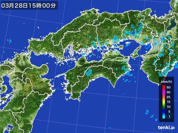 四国地方の雨雲レーダー(2016年03月28日)