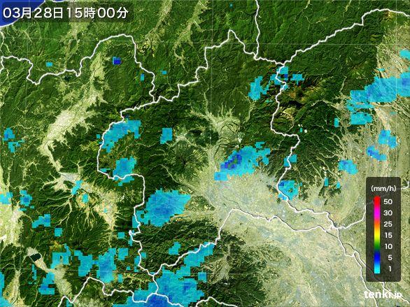 群馬県の雨雲レーダー(2016年03月28日)