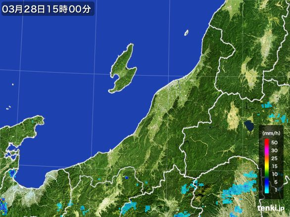 新潟県の雨雲レーダー(2016年03月28日)