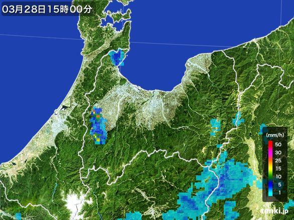 富山県の雨雲レーダー(2016年03月28日)
