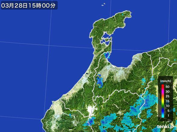 石川県の雨雲レーダー(2016年03月28日)
