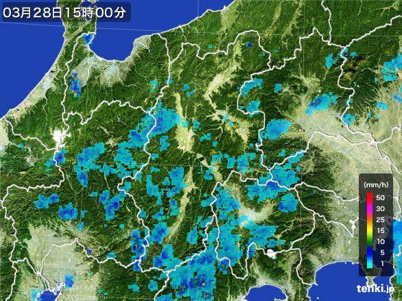長野県の雨雲レーダー(2016年03月28日)