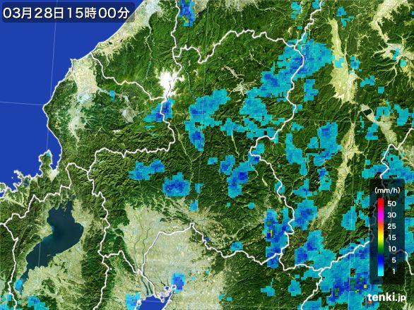 岐阜県の雨雲レーダー(2016年03月28日)