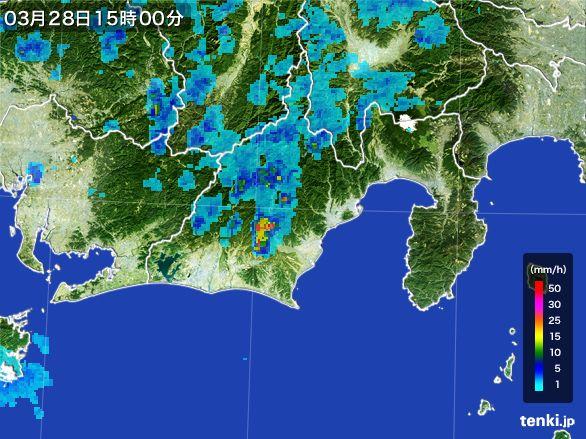 静岡県の雨雲レーダー(2016年03月28日)