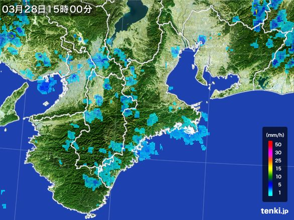 三重県の雨雲レーダー(2016年03月28日)