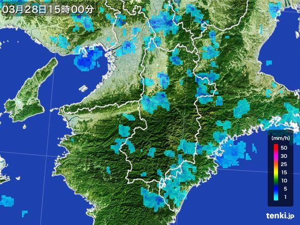 奈良県の雨雲レーダー(2016年03月28日)