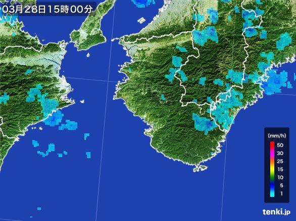 和歌山県の雨雲レーダー(2016年03月28日)