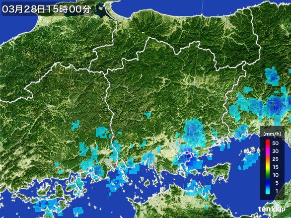 岡山県の雨雲レーダー(2016年03月28日)