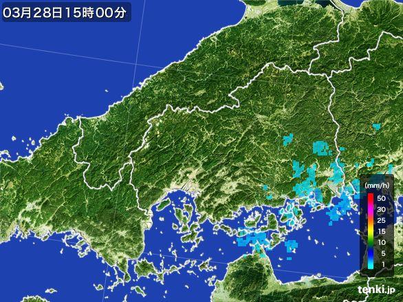 広島県の雨雲レーダー(2016年03月28日)