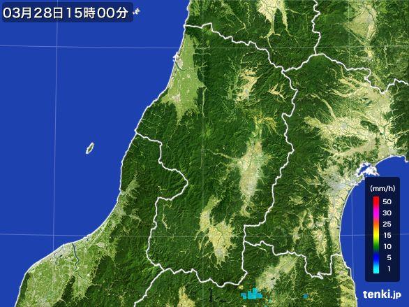 山形県の雨雲レーダー(2016年03月28日)