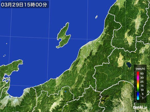 新潟県の雨雲レーダー(2016年03月29日)