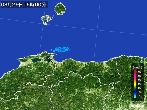鳥取県の雨雲レーダー(2016年03月29日)
