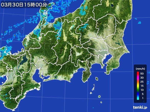 関東・甲信地方の雨雲レーダー(2016年03月30日)